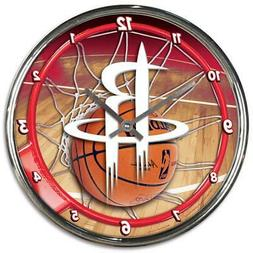 Houston Rockets Chrome Round Wall Clock  NBA Sign Banner Off
