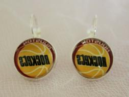 Houston Rockets Earrings made from Basketball Trading Cards