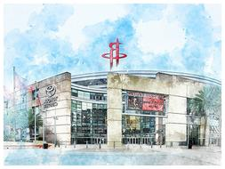 Houston Rockets Poster Architectural Design Art Print Man Ca