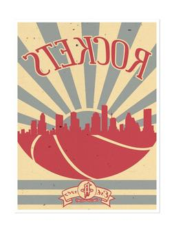 Houston Rockets Poster Sunset Design Art Print Man Cave Deco