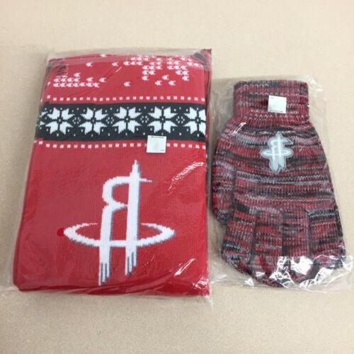 houston rockets scarf and gloves set warm