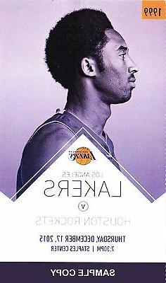 Kobe Bryant Lakers Unused Game Stubs for 12/17/2015 vs. Hous